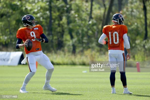 Nick Foles of the Chicago Bears throws a pass during training camp at Halas Hall on September 02, 2020 in Lake Forest, Illinois.