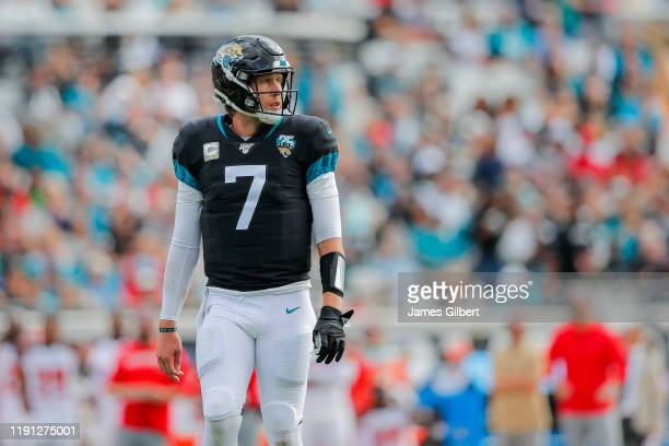 Nick Foles of the Jacksonville Jaguars looks on during the second quarter of a game against the Tampa Bay Buccaneers at TIAA Bank Field on December...