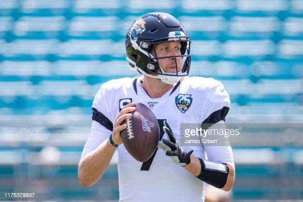 Nick Foles of the Jacksonville Jaguars warms up before the start of a game against the Kansas City Chiefs at TIAA Bank Field on September 08, 2019 in...