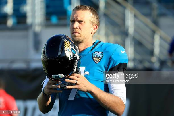 Nick Foles of the Jacksonville Jaguars warms up prior to a preseason game at TIAA Bank Field on August 29 2019 in Jacksonville Florida