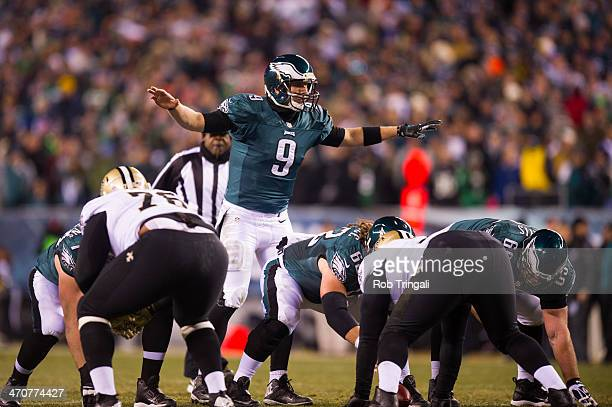 Nick Foles of the Philadelphia Eagles calls out the counts during a Wild Card Playoff Game against the New Orleans Saints at Lincoln Financial Field...