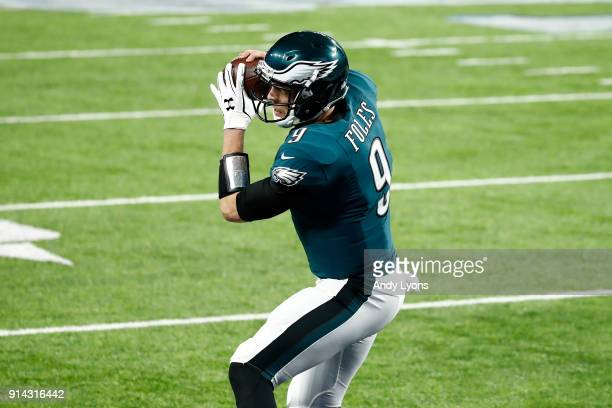 Nick Foles of the Philadelphia Eagles catches a 1yard touchdown pass against the New England Patriots during the second quarter in Super Bowl LII at...