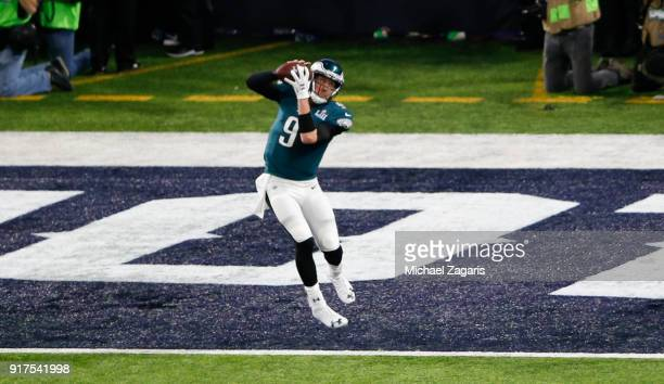 Nick Foles of the Philadelphia Eagles catches a one-yard touchdown pass during the game against the New England Patriots in Super Bowl LII at U.S....