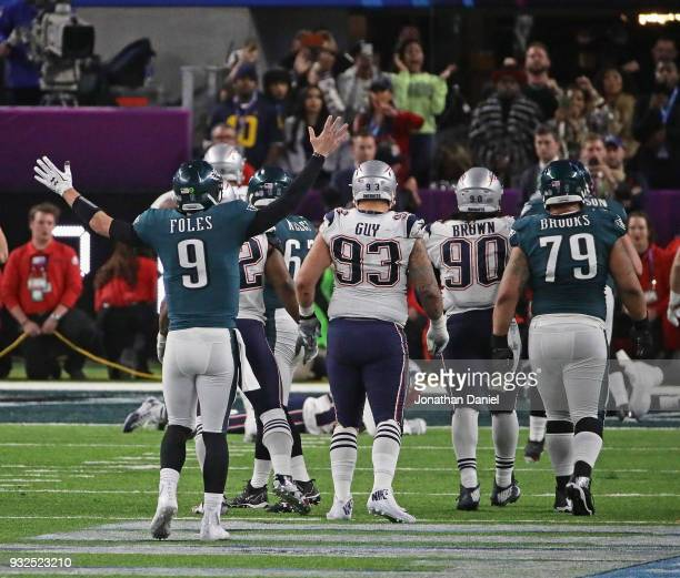 Nick Foles of the Philadelphia Eagles celebrates a touchdown against the New England Patroits during Super Bowl Lll at US Bank Stadium on February 4...