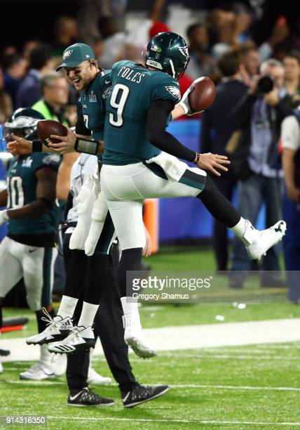 Nick Foles of the Philadelphia Eagles celebrates after catching a 1 yard touchdown pass against the New England Patriots during the second quarter in...