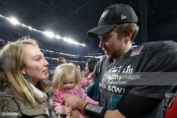 Nick Foles of the Philadelphia Eagles celebrates after defeating the New England Patriots 4133 in Super Bowl LII at US Bank Stadium on February 4...