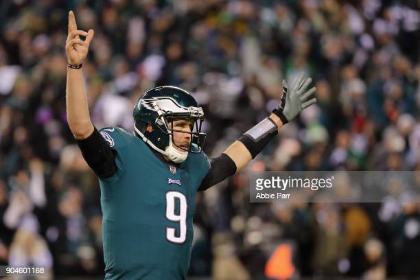 Nick Foles of the Philadelphia Eagles celebrates after LeGarrette Blount scored a 1 yard touchdown against the Atlanta Falcons during the second...