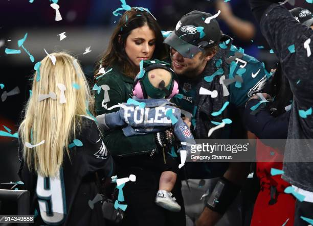 Nick Foles of the Philadelphia Eagles celebrates defeating the New England Patriots 4133 with his wife Tori Moore in Super Bowl LII at US Bank...