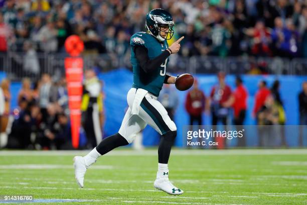 Nick Foles of the Philadelphia Eagles celebrates his second quarter touchdown reception against the New England Patriots in Super Bowl LII at US Bank...