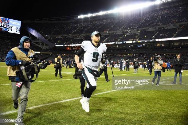 Nick Foles of the Philadelphia Eagles celebrates their 16 to 15 win over the Chicago Bears in the NFC Wild Card Playoff game at Soldier Field on...