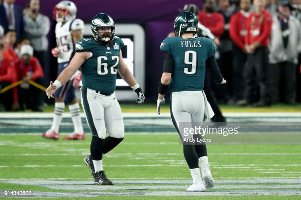 Nick Foles of the Philadelphia Eagles celebrates with Jason Kelce against the New England Patriots during the fourth quarter in Super Bowl LII at...
