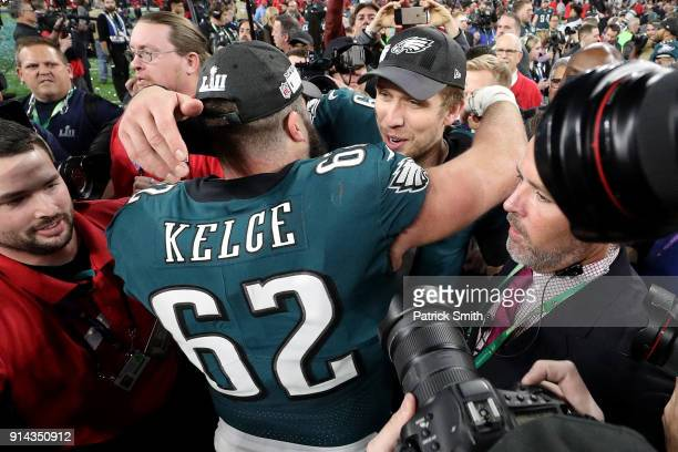 Nick Foles of the Philadelphia Eagles celebrates with Jason Kelce after defeating the New England Patriots 41-33 in Super Bowl LII at U.S. Bank...