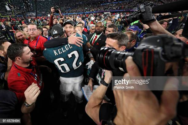 Nick Foles of the Philadelphia Eagles celebrates with Jason Kelce after defeating the New England Patriots 4133 in Super Bowl LII at US Bank Stadium...