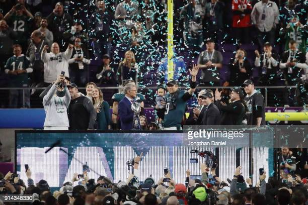 Nick Foles of the Philadelphia Eagles celebrates with the Vince Lombardi Trophy and his daughter Lily Foles after the Eagles defeated the New England...