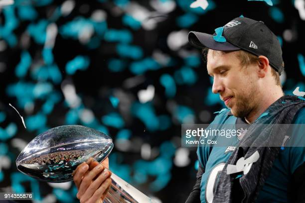 Nick Foles of the Philadelphia Eagles celebrates with the Vince Lombardi Trophy after his teams 4133 victory over the New England Patriots in Super...