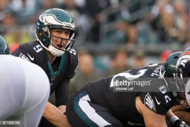 Nick Foles of the Philadelphia Eagles in action against the Denver Broncos at Lincoln Financial Field on November 5 2017 in Philadelphia Pennsylvania