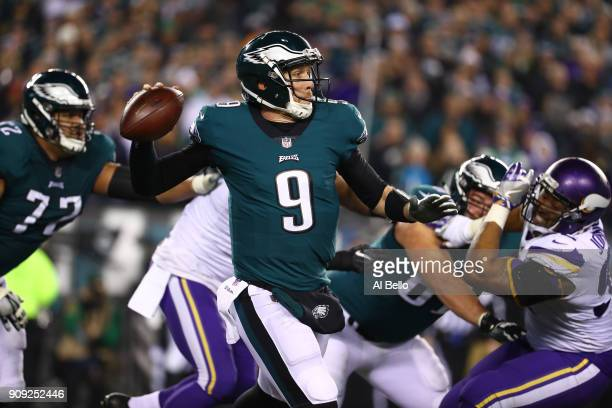 Nick Foles of the Philadelphia Eagles in action against the Minnesota Vikings during their NFC Championship game at Lincoln Financial Field on...
