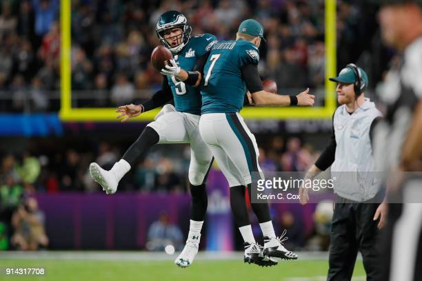 Nick Foles of the Philadelphia Eagles is congratulated by his teammate Nate Sudfeld after his 1yard touchdown reception during the second quarter...