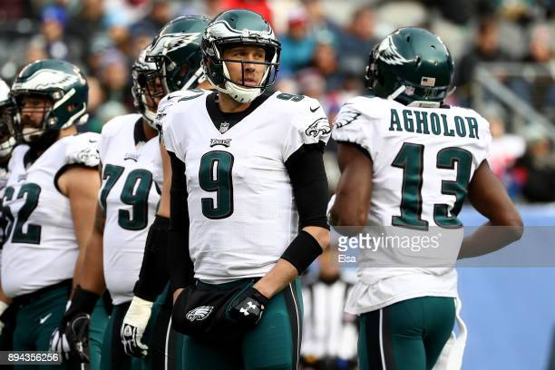 Nick Foles of the Philadelphia Eagles looks on against the New York Giants during the game at MetLife Stadium on December 17 2017 in East Rutherford...