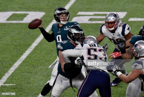 Nick Foles of the Philadelphia Eagles looks to pass against the New England Patriots during Super Bowl LII at US Bank Stadium on February 4 2018 in...