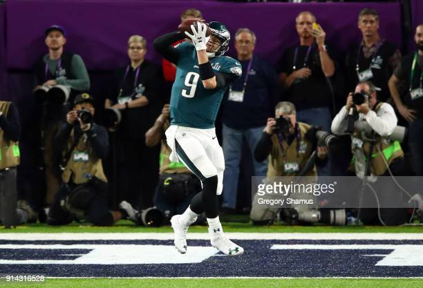 Nick Foles of the Philadelphia Eagles makes a 1yard touchdown reception against the New England Patriots during the second quarter in Super Bowl LII...