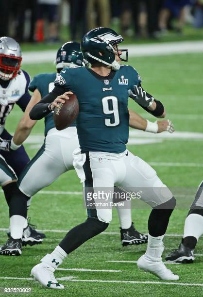 Nick Foles of the Philadelphia Eagles passes against the New England Patroits during Super Bowl Lll at US Bank Stadium on February 4 2018 in...