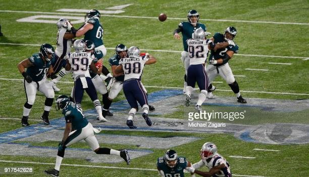 Nick Foles of the Philadelphia Eagles passes during the game against the New England Patriots in Super Bowl LII at US Bank Stadium on February 4 2018...