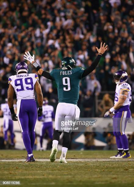 Nick Foles of the Philadelphia Eagles reacts after throwing a 53 yard touchdown pass during the second quarter against the Minnesota Vikings in the...