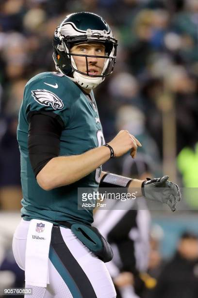 Nick Foles of the Philadelphia Eagles reacts in the second quarter against the Atlanta Falcons during the NFC Divisional Playoff game game at Lincoln...