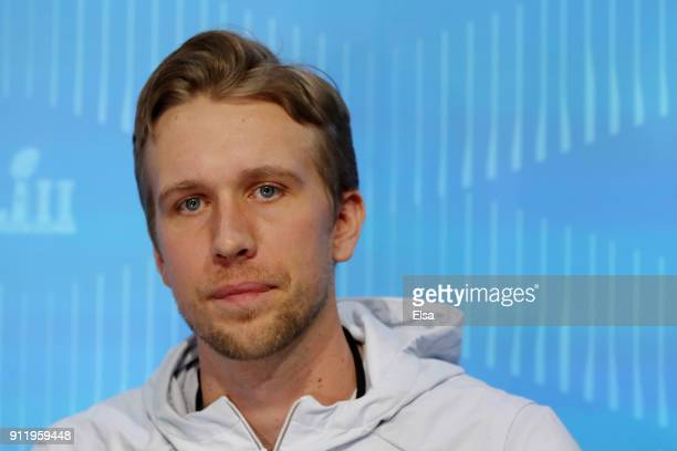 Nick Foles of the Philadelphia Eagles speaks to the media during Super Bowl Media Day at Xcel Energy Center on January 29 2018 in St Paul Minnesota...