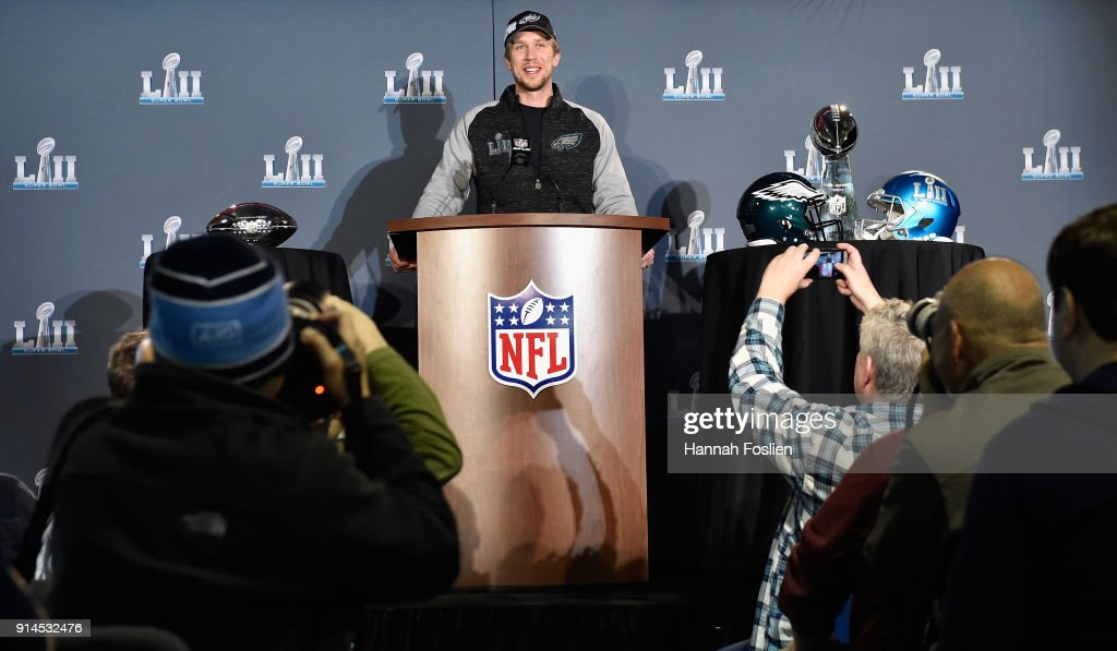 Nick Foles #9 of the Philadelphia Eagles speaks to the media during Super Bowl LII media availability on February 5, 2018 at Mall of America in Bloomington, Minnesota. The Philadelphia Eagles defeated the New England Patriots in Super Bowl LII 41-33 on February 4th.