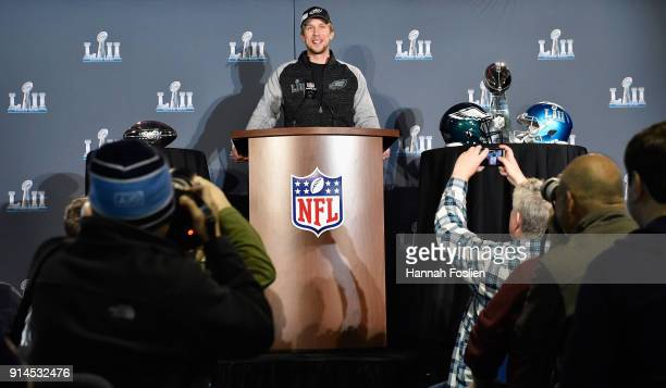 Nick Foles of the Philadelphia Eagles speaks to the media during Super Bowl LII media availability on February 5 2018 at Mall of America in...