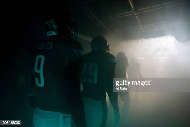 Nick Foles of the Philadelphia Eagles walks out on to the field prior to the NFC Championship game against the Minnesota Vikings at Lincoln Financial...