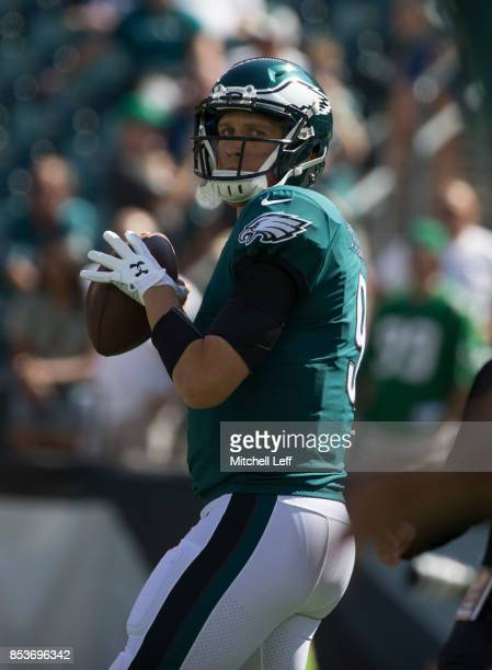 Nick Foles of the Philadelphia Eagles warms up prior to the game against the New York Giants at Lincoln Financial Field on September 24 2017 in...
