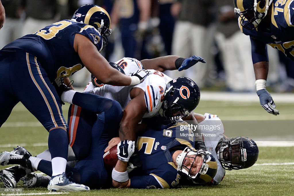 Nick Foles #5 of the St. Louis Rams is sacked in the fourth quarter against the Chicago Bears at the Edward Jones Dome on November 15, 2015 in St. Louis, Missouri.