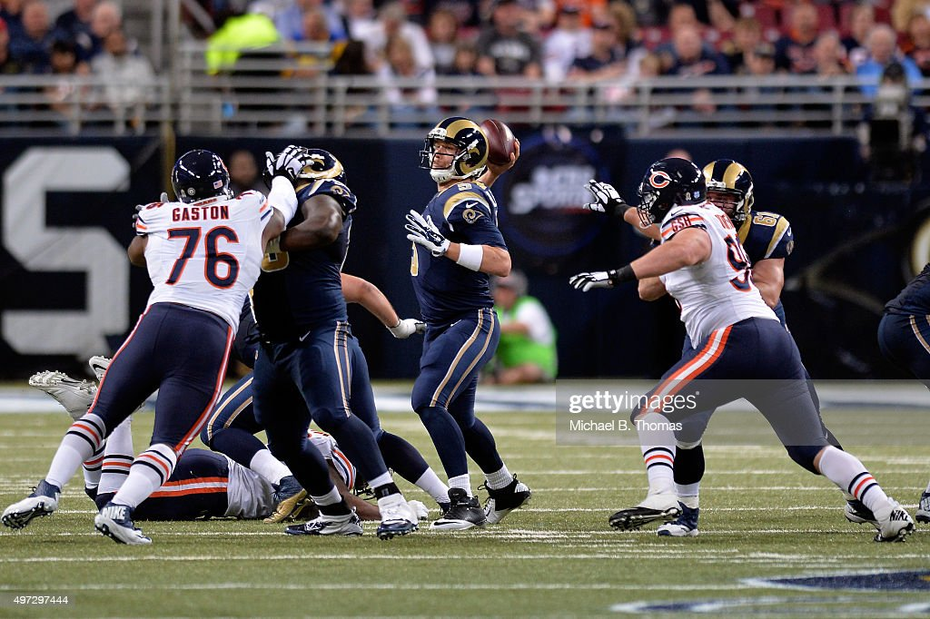 Nick Foles #5 of the St. Louis Rams throws a pass in the fourth quarter against the Chicago Bears at the Edward Jones Dome on November 15, 2015 in St. Louis, Missouri.