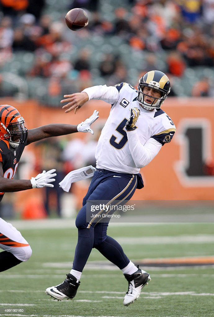 Nick Foles #5 of the St. Louis Rams throws on the run during the game against the Cincinnati Bengals at Paul Brown Stadium on November 29, 2015 in Cincinnati, Ohio.