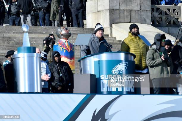 MVP Nick Foles speaks on stage as hundreds of thousands fill the Parkway in Philadelphia PA on February 8 to celebrate the Super Bowl champions