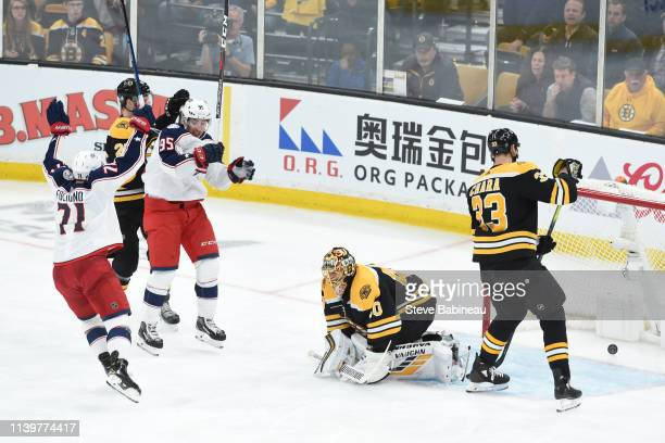 Nick Foligno and Matt Duchene of the Columbus Blue Jackets celebrate the double overtime goal against the Boston Bruins in Game Two of the Eastern...