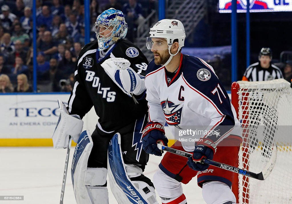 Nick Foligno #71 of the Columbus Blue Jackets and Andrei Vasilevskiy #88 of the Tampa Bay Lightning look for a shot at the Amalie Arena on January 13, 2017 in Tampa, Florida.