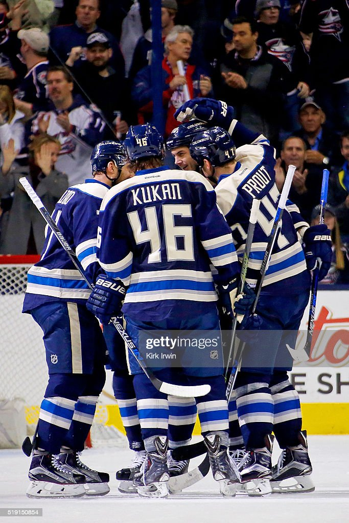 Nick Foligno #71 of the Columbus Blue Jackets is congratulated by his teammates after scoring his second goal of the game against the New York Rangers during the third period on April 4, 2016 at Nationwide Arena in Columbus, Ohio. New York defeated Columbus 4-2.