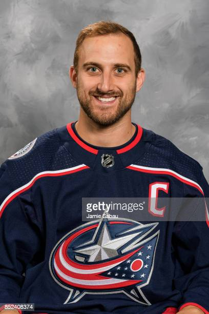 Nick Foligno of the Columbus Blue Jackets poses for his official headshot for the 201718 season on September 14 2017 at Nationwide Arena in Columbus...