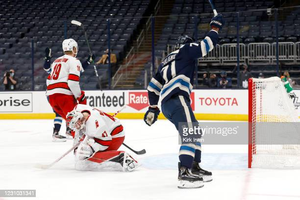 Nick Foligno of the Columbus Blue Jackets reacts after beating James Reimer of the Carolina Hurricanes for a goal during the second period at...