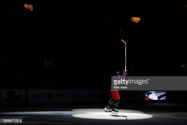 Nick Foligno of the Columbus Blue Jackets skates on the ice after being named the game's number one star after defeating the Colorado Avalanche 52 on...
