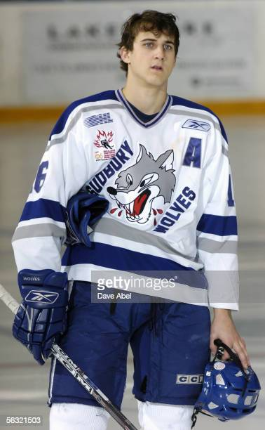 Nick Foligno of the Sudbury Wolves skates during the game with the Toronto St Michael's Majors on November 13 2005 at St Michael's School Arena in...