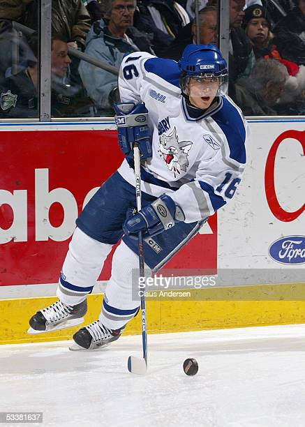 Nick Foligno of the Sudbury Wolves skates with the puck during the Ontario Hockey League game against the London Knights at John Labatt Centre on...