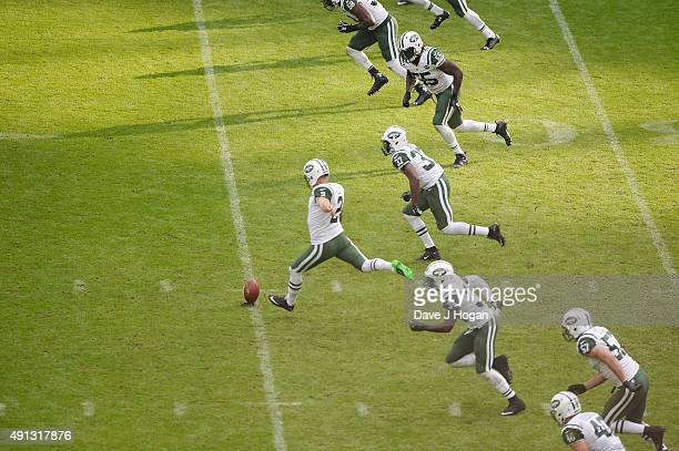 Nick Folk attempts a kick during the annual NFL International Series as the New York Jets compete against the Miami Dolphins at Wembley Stadium on...