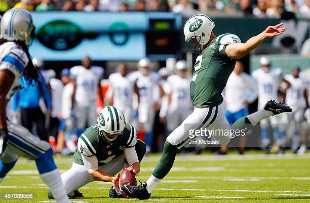 Nick Folk of the New York Jets in action against the Detroit Lions on September 28 2014 at MetLife Stadium in East Rutherford New Jersey The Lions...