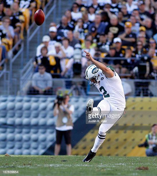 Nick Folk of the New York Jets kicks against the Pittsburgh Steelers during the game on September 16 2012 at Heinz Field in Pittsburgh Pennsylvania