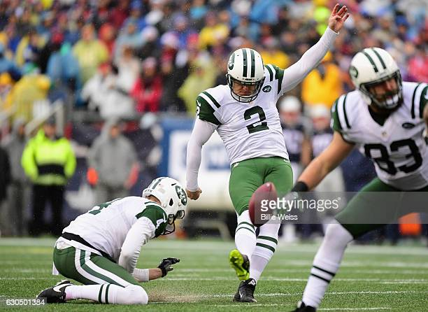 Nick Folk of the New York Jets misses a field goal attempt during the first quarter of a game against the New England Patriots at Gillette Stadium on...
